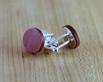 Wood Cuff links - Purpleheart - Groomsmen gift - 5th wedding anniversary - Round Cuff Link - Gift for Him - Mens Jewelry - Personalized