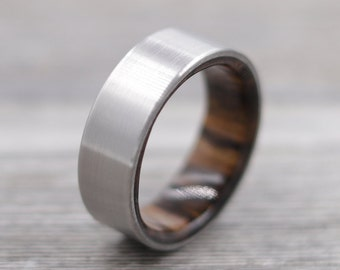 Titanium Ring Lined with Mesquite- Wedding Band, Unique Wedding Ring, Titanium Wedding Band, Mesquite Ring, Simple Mens Ring, Fathers Day