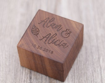 Leaf, Personalized Ring Box, Custom Wood Ring Box, Anniversary Gift, 5 Year Anniversary, Ring Bearer Box, Engagement, Proposal Ring Box