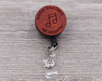 Music Teacher Badge Reel, Music Note Badge, Retractable Badge Reel, School Badge, Teacher ID, Custom Badge, Personalized Badge, Teacher Gift