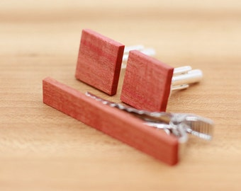 Wood Cuff links and Wood Tie Clip set - Pink Ivory wood - Groomsmen gift - 5th wedding anniversary present - Square Cuff Link - Gift for Him