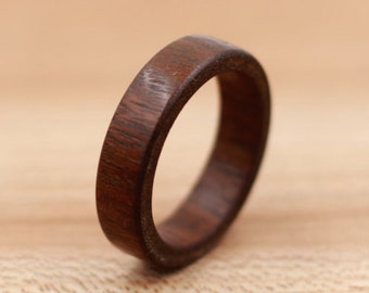 Cumaru Wood Ring - Custom Wood Ring - Engraved Ring - Unique Wedding Ring - Wedding Ring - Wooden Ring - Mens Jewelry - 5 Year Anniversary