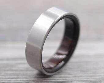 Titanium Ring Lined with Macassar Ebony, Wedding Band, Unique Wedding Ring, Titanium Wedding Band, Mesquite Ring, Simple Ring
