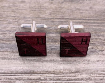 Purpleheart, Wood Cuff Links, Groomsmen gift, 5th wedding anniversary, Square Cuff Links, Round Cuff Links, Gift for Him, Personalized