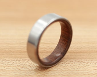 Titanium Ring Lined with Brown Ebony - Wedding Band - Unique Wedding Ring - Wood Titanium Ring