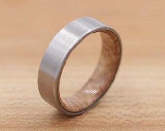 Titanium Ring Lined with Satinwood Burl - Wood Ring - Wood Titanium Ring - Natural Ring - Wedding Band - Unique Wedding Ring
