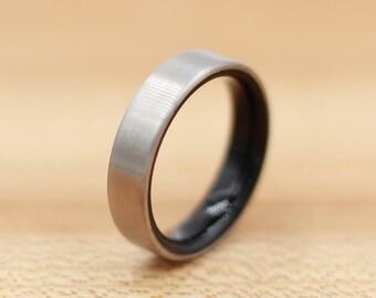 Titanium Ring Lined with Ebony- Wedding Band - Unique Wedding Ring