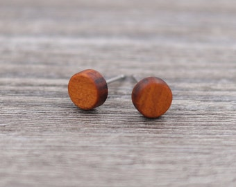 Padauk stud earrings, Wood earrings, Wood stud earrings, Womens earrings, Mens earrings, Unisex Earrings, Custom Earrings, Tiny Earrings