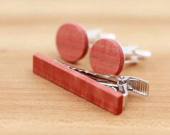 Wood Cuff links and Wood Tie Clip set - Pink Ivory wood - Groomsmen gift - 5th wedding anniversary present - Round Cuff Link - Gift for Him