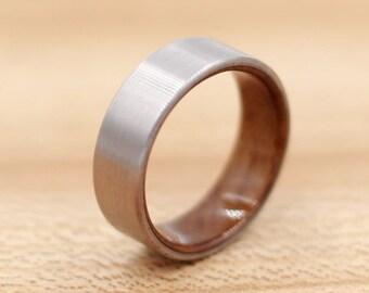Titanium Ring Lined with Teak - Wedding Band - Unique Wedding Ring - Wood Titanium Ring