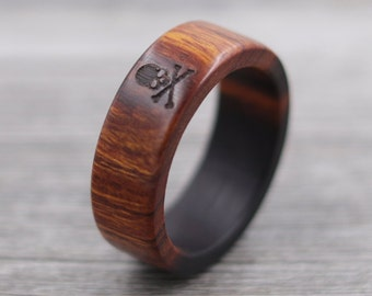 Desert Ironwood Skull and Crossbones Ring, Custom Wood, Ring - Wooden Ring, Mens Jewelry, 5 Year Anniversary, Father's Day