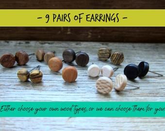 9 pairs of wood earrings, Wood earrings, Wood stud earrings, Womens earrings, Mens earrings, Unisex Earrings, Custom Earrings, Tiny Earrings