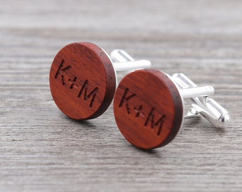 Wooden Cufflinks - Padauk - Groomsmen gift - 5th wedding anniversary - Square Cuff Link - Gift for Him - Mens Jewelry - Personalize