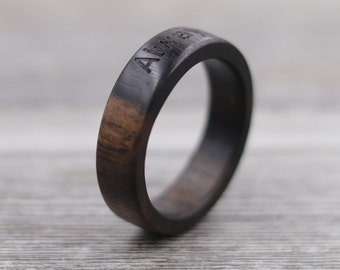 Macassar Ebony Wood Ring - Engraved Wood Ring - Unique Wedding Ring - Wedding Ring - Wooden Ring - Mens Jewelry - 5 Year Anniversary