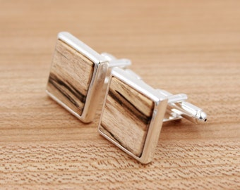 Spalted Maple Square Wood Cuff links - Silver Cuff links - Groomsmen gift - 5th Wedding Anniversary Present
