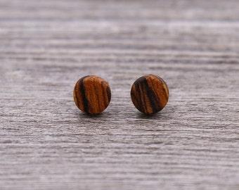 Bocote stud earrings, Wood earrings, Wood stud earrings, Womens earrings, Mens earrings, Unisex Earrings, Custom Earrings, Tiny Earrings