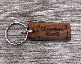 Adventure Awaits, Wood Key chain, Personalized Key chain, Custom Wood Key chain, Anniversary Gift, Birthday Gift, Wedding Party Gift