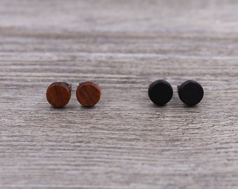 2 pairs of wood earrings - Wood earrings - Unisex earrings - Mens earrings - Wood stud earrings - 7 mm studs - 8 mm studs - 9 mm studs