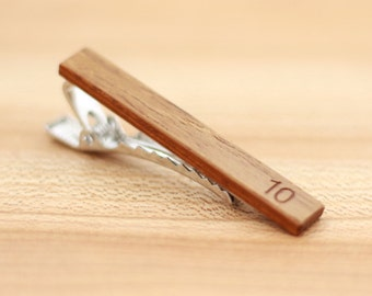Wood Tie Clip - Personalized  - Salvaged Teak - 5th wedding anniversary present - Groomsmen gift - Wooden Tie Clip