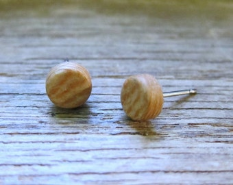 Sycamore stud earrings, Wood earrings, Wood stud earrings, Womens earrings, Mens earrings, Unisex Earrings, Custom Earrings, Tiny Earrings