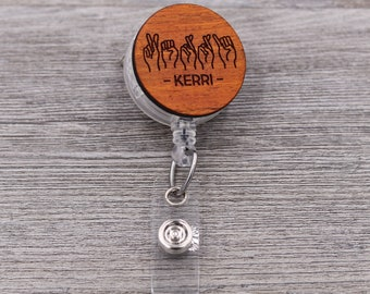 Name Badge Reel, ASL Badge Reel, Sign Language, Custom ID Badge, Retractable Badge Reel, Work ID, Custom Badge, Personalized Badge