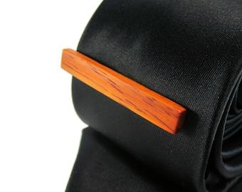 Wood Tie Clip - Padauk wood - Groomsmen gift - 5th wedding anniversary present