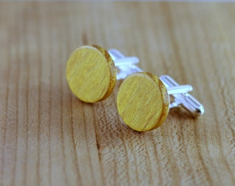 Wooden Cufflinks - Osage Orange - Groomsmen gift - 5th wedding anniversary - Round Cuff Link - Gift for Him - Mens Jewelry - Personalize
