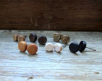 6 pairs of wood earrings - Wood earrings - Womens earrings - Unisex earrings - Mens earrings - Wood stud earrings - Tiny earrings