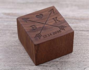 Initials, Couples, Personalized Ring Box, Custom Wood Ring Box, Ring Bearer Box, Engagement, Keepsake Box, Jewelry Box, Proposal Ring Box