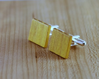 Wooden Cufflinks - Osage Orange - Groomsmen gift - 5th wedding anniversary - Square Cuff Link - Gift for Him - Mens Jewelry - Personalize