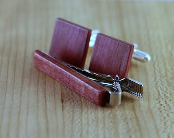 Wooden Cufflinks and Tie Bar set - Purpleheart - Groomsmen gift - 5th wedding anniversary present - Square Cuff Link - Gift for Him