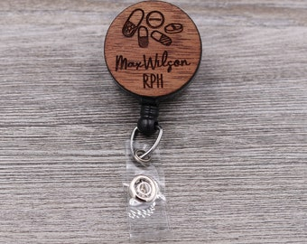 Pharmacist Badge Reel, Pharmacy Tech, Pharmacy, Medical, Custom ID Badge, Retractable Badge Reel, Work ID, Custom Badge, Personalized Badge