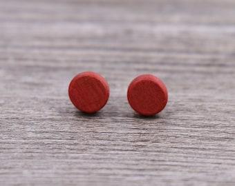 Pink Ivory wood earrings - Wood earrings - Wood stud earrings - Womens earrings - Mens earrings - 7 mm studs - 8 mm studs - 9 mm studs