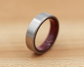 Titanium Ring Lined with Purpleheart - Wedding Band - Unique Wedding Ring - Titanium Wedding Band