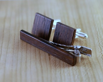 Wooden Cufflinks and Tie Bar set - Wenge - Groomsmen gift - 5th wedding anniversary present - Square Cuff Link - Gift for Him