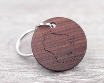 New Home Keychain - State Keychain - Personalized Rosewood Keychain - Custom Wood Keychain - Realtor Gift - Housewarming Gift - Map Keychain