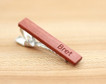 Wood Tie Clip - Personalized - Redheart wood - 5th wedding anniversary present - Groomsmen gift