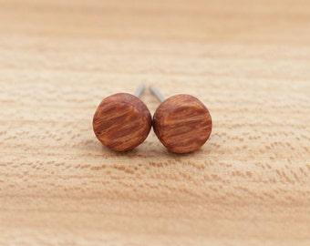 Leopardwood stud earrings - Wood earrings - Wood stud earrings - Womens earrings - Mens earrings - 7 mm studs - 8 mm studs - 9 mm studs