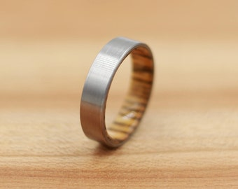 Titanium Ring Lined with Bocote - Wedding Band - Unique Wedding Ring - Titanium Wedding Band