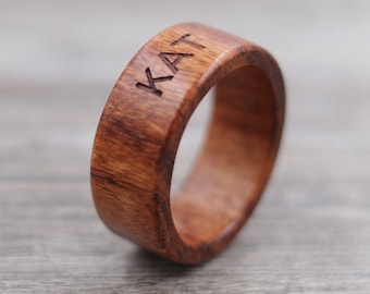Quebracho Wood Ring - Custom Wood Ring - Personalized Ring - Engraved - Wedding Ring - Wooden Ring - Mens Jewelry - 5 Year Anniversary