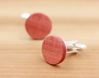 Wood Cuff links - Pink Ivory wood - Groomsmen gift - 5th wedding anniversary - Round Cuff Link - Gift for Him - Mens Jewelry - Personalize