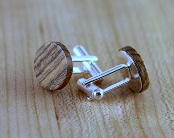 Wooden Cufflinks - Bocote - Groomsmen gift - 5th wedding anniversary - Round Cuff Link - Gift for Him - Mens Jewelry - Personalize