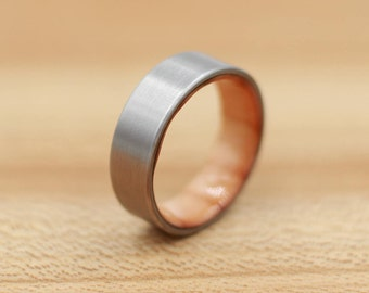 Titanium Ring Lined with Pine - Wedding Band - Unique Wedding Ring - Titanium Wedding Band