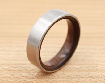 Titanium Ring Lined with Walnut- Wedding Band - Unique Wedding Ring