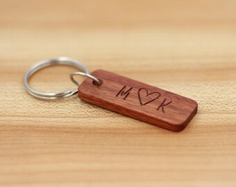 Personalized Rosewood Keychain- Custom Wood Key Chain - Wedding Party Gifts - Groomsman Gift - Bridesmaid Gift - Fathers Day - Anniversary