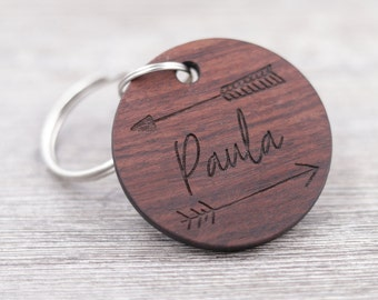 Name Keychain - Arrow Design Keychain - Personalized Rosewood Keychain - Custom Wood Keychain - Circle Keychain - Engraved Keychain