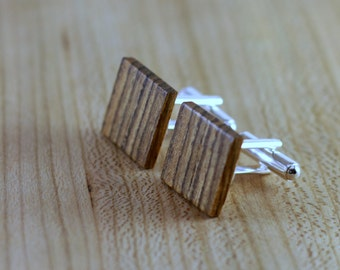 Wooden Cufflinks - Bocote - Groomsmen gift - 5th wedding anniversary - Square Cuff Link - Gift for Him - Mens Jewelry - Personalize