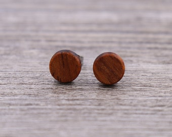 Brazilian Cherry stud earrings, Wood earrings, Wood stud earrings, Womens earrings, Mens earrings, Custom Earrings, Small Earrings