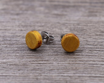 Osage Orange stud earrings - Wood earrings - Wood stud earrings - Womens earrings - Mens earrings - 7 mm studs - 8 mm studs - 9 mm studs