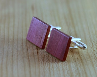 Wooden Cufflinks - Purpleheart - Groomsmen gift - 5th wedding anniversary - Square Cuff Link - Gift for Him - Mens Jewelry - Personalized